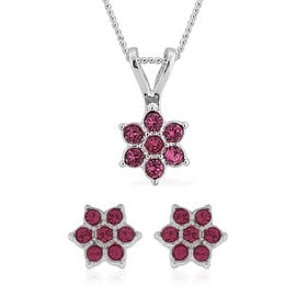 2 Piece Set -  ETERNITY Pink Swarovski Crystal Necklace (Size 18 with 2 inch Extender) and Earrings