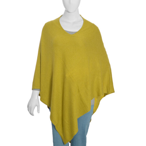 Limited Available - 100%  Cashmere Pashmina Wool Poncho - Olive Green (Free Size)