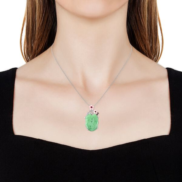 Carved Green Jade, Pink Mother of Pearl, Mozambique Garnet and Natural White Cambodian Zircon Pendant With Chain (Size 18) in Rhodium Overlay Sterling Silver 25.84 Ct, Silver wt 6.44 Gms.