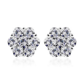 Super Auction - 9K White Gold Pressure Set SGL Certified Diamond (Rnd) (I3/G-H) Floral Stud Earrings