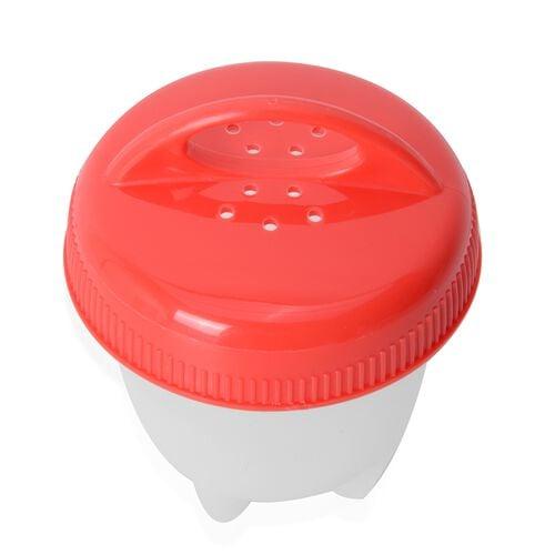 6 piece Set - Non-Stick Silicone Egg Boiler Red and White