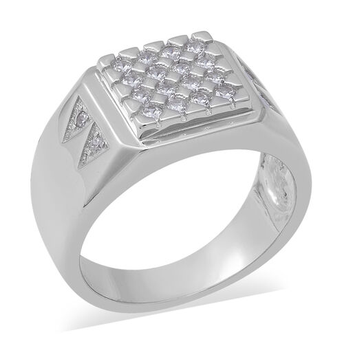 ELANZA Simulated Diamond Cluster Ring in Rhodium Plated Sterling Silver 5.80 Grams