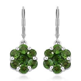 Russian Diopside (Rnd) Lever Back Pressure Set Earrings in Platinum Overlay Sterling Silver 3.000 Ct