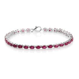 AAA African Ruby Bracelet (Size 7.5) in Platinum Overlay Sterling Silver 10.50 Ct, Silver wt 7.00 Gm