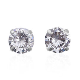 ELANZA Simulated Diamond Solitaire Stud Earrings in Sterling Silver