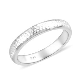Platinum Overlay Sterling Silver Band Ring