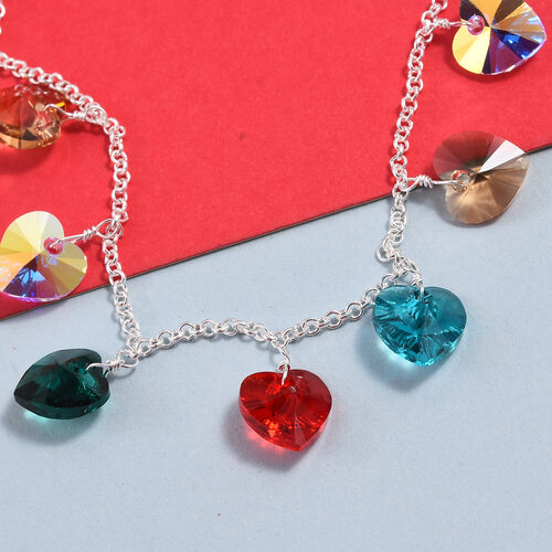 J Francis - Crystal from Swarovski AB Crystal and Multi Gemstone Colour Crystal Bracelet (Size 7.5 with 0.5 inch Extender) in Sterling Silver