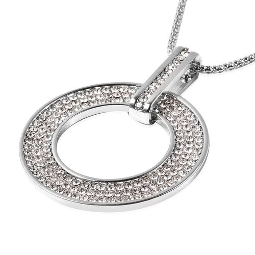 White Austrian Crystal Circle of Life Pendant with Chain (Size 28 with 2.5 inch Extender) in Silver Tone