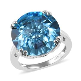 J Francis - Crystal from Swarovski Aquamarine Colour Crystal (Rnd) Solitaire Ring in Sterling Silver