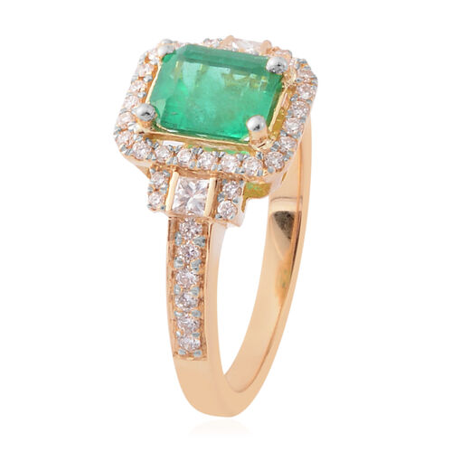 ILIANA 18K Yellow Gold AAA Boyaca Colombian Emerald (Oct) Diamond (SI/G-H) Ring 2.390 Ct.