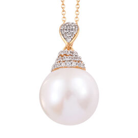 Edison Pearl and Cambodian Zircon Pendant with Chain in Gold Plated Sterling Silver 20 Inch