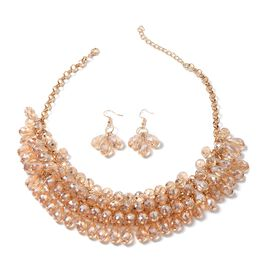Set of 2 Simulated Champagne Diamond Earrings and Necklace (Size 20) in Gold Tone