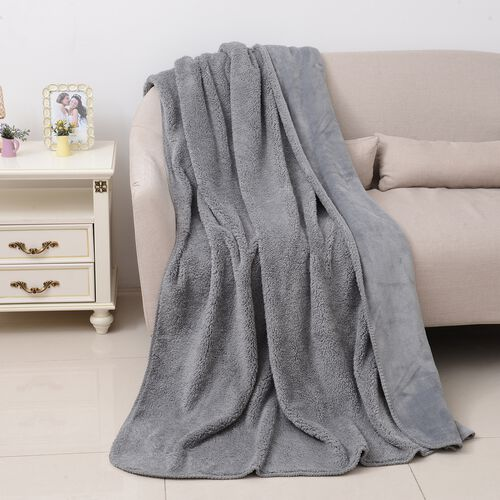 High-Quality Flannel Sherpa Bonded Blanket (Size 200x150 Cm) Grey Colour