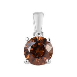 J Francis - Sterling Silver (Rnd) Solitaire Pendant Made with Champagne SWAROVSKI ZIRCONIA 0.84 Ct.