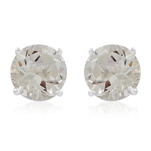 Green Amethyst (Rnd) Stud Earrings (with Push Back) in Sterling Silver 3.350 Ct.