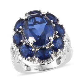 Ceylon Colour Quartz (Ovl 6.00 Ct) Sunflower Ring in Platinum Overlay Sterling Silver 10.250 Ct, Silver wt 5.40 Gms
