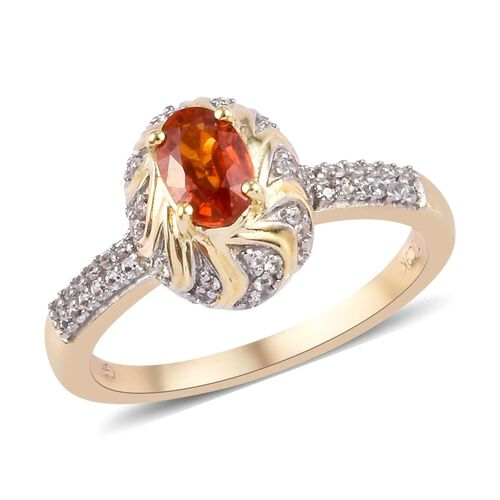 GP - 9K Yellow Gold AA Red Sapphire (Ovl), Natural Cambodian Zircon and Blue Sapphire Ring 1.00 Ct.