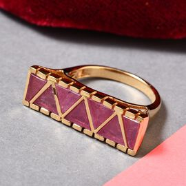 GP African Ruby (FF) and Blue Sapphire Ring in 14K Gold Overlay Sterling Silver 5.00 Ct.