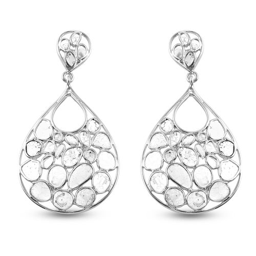 Artisan Crafted Polki Diamond Dangle Earrings (with Push Back) in Platinum Overlay Sterling Silver 4
