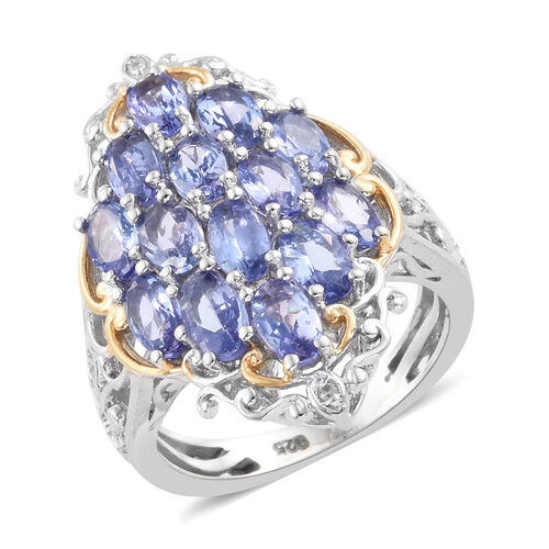 Tanzanite (Ovl), Natural Cambodian Zircon Cluster Ring in Platinum and Yellow Gold Overlay Sterling