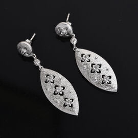 GP Natural Cambodian Zircon and Blue Sapphire Dangling Earrings (with Push Back) in Platinum Overlay Sterling Silver
