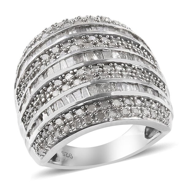 Designer Inspired -Natural Diamond Cluster Ring in Platinum Overlay Sterling Silver 2.04 Ct, Silver wt 8.45 Gms