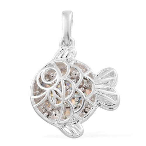 J Francis Crystal From Swarovski - AB Colour Crystal (Rnd) Fish Pendant in Sterling Silver