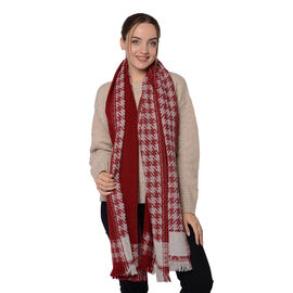 Close Out Deal LA MAREY Super Soft 100% Wool Shawl in Burgundy Houndstooth Pattern with Tassels (200