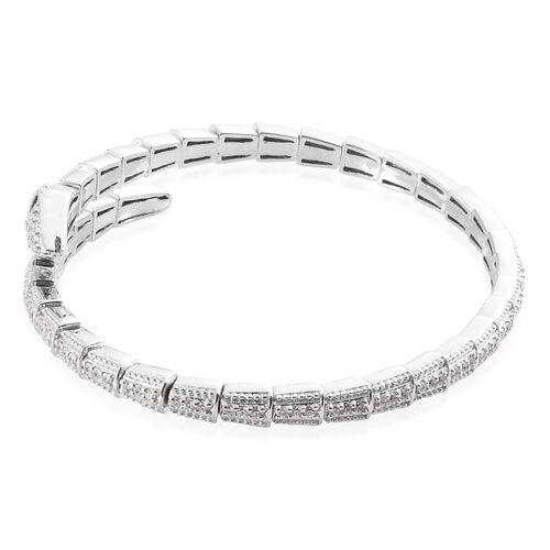 J Francis - Platinum Overlay Sterling Silver (Rnd), Boi Ploi Black Spinel Serpentine Bracelet (Size 7.5) Made with SWAROVSKI ZIRCONIA Number of Swarovski 119 PCS Silver wt 20.00 Gms.
