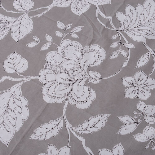 Grey Colour Microfiber Printed Fabric Duvet Cover with Floral Design (Size 200x200 Cm), Fitted Sheet (Size 220x140 Cm) and Grey Pillow Case (Size 75x50 Cm)