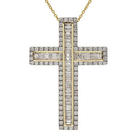 14K Yellow Gold SGL Certified Diamond (I1-I2/G-H) Cross Pendant With Chain (18 in) 2.000  Ct.