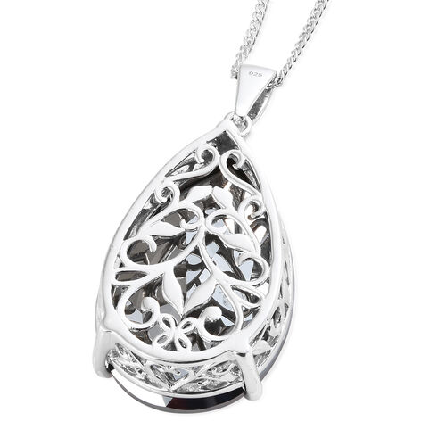 Cocktail Collection- J Francis Crystal from Swarovski - Crystal Silver Night (Pear 40x27mm) Pendant With Chain (Size 30) in Platinum Overlay Sterling Silver, Silver wt 13.00 Gms.