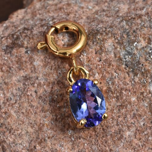 Tanzanite (Ovl) Charm in 14K Gold Overlay Sterling Silver 0.75 Ct.