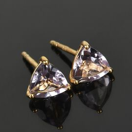 Rose De France Amethyst Stud Earrings (with Push Back) in 14K Gold Overlay Sterling Silver 1.420 Ct.