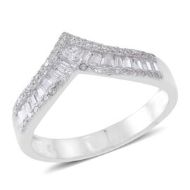 Boutique Inspired - ELANZA AAA Simulated White Diamond (Bgt) Wishbone Ring in Rhodium Plated Sterling Silver