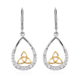 J Francis Yellow Gold and Platinum Overlay Sterling Silver (Rnd) Celtic Knot Lever Back Earrings Made with SWAROVSKI ZIRCONIA