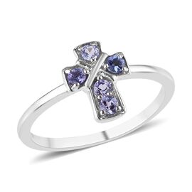 Tanzanite (Rnd) Cross Ring in Platinum Overlay Sterling Silver 0.25 Ct.