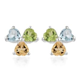 Sky Blue Topaz (Hrt), Hebei Peridot and Citrine Stud Earrings in Sterling Silver 2.500 Ct.