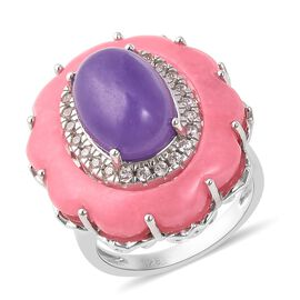 21.53 Ct Purple Jade and Multi Gemstone Halo Ring in Rhodium Plated Silver