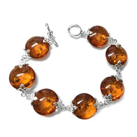 One Time Deal- Rare Size Baltic Amber (Rnd 17mm) Bracelet with Toggle Lock in Sterling Silver 44.000 Ct. Silver wt 7.5 Gms.