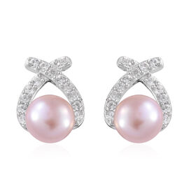 Freshwater Pink Pearl (Rnd), Natural Cambodian Zircon Earrings (with Push Back) in Platinum Overlay Sterling Silver