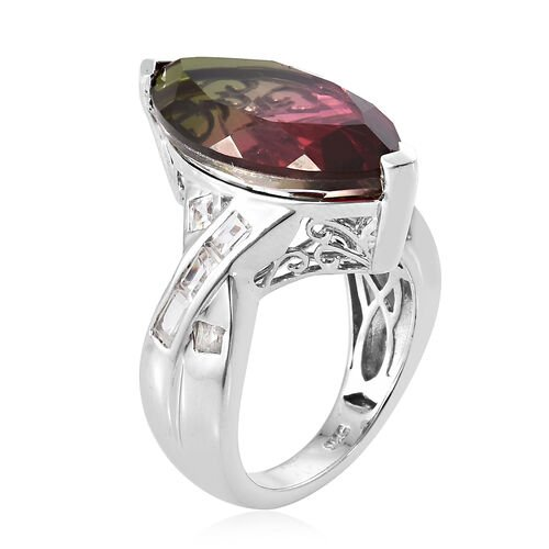 Finch Quartz (Mrq 7.00 Ct), White Topaz Ring in Platinum Overlay Sterling Silver 9.750 Ct, Silver wt 5.16 Gms.