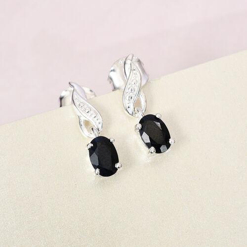 Black Sapphire Dangling Earring in Sterling Silver