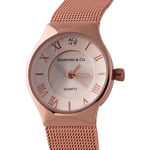 DIAMOND and CO LONDON Diamond Studded Bracelet Watch with a Stainless Steel Mesh Style Strap in Rose Gold Tone