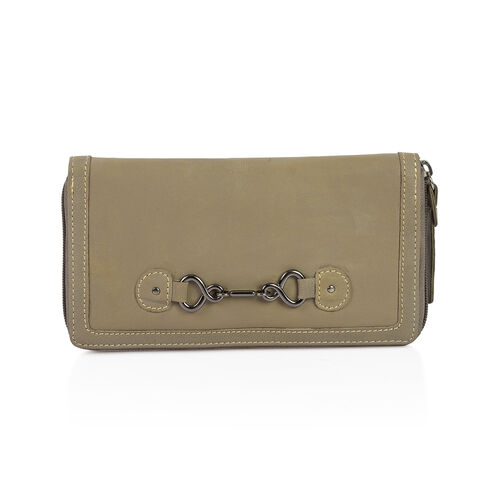 Design Look Horsebit Logo100% Genuine Leather Light Olive Clutch Wallet with RFID Blocking (Size 19x