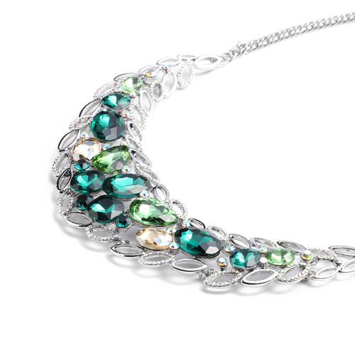 Green Austrian Crystal, Simulated Multi Colour Gemstone and Simulated Mystic White Crystal Necklace (Size 23.5 with Extender) in Silver Tone
