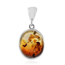 Baltic Amber (Ovl) Pendant in Sterling Silver, Silver wt 6.00 Gms