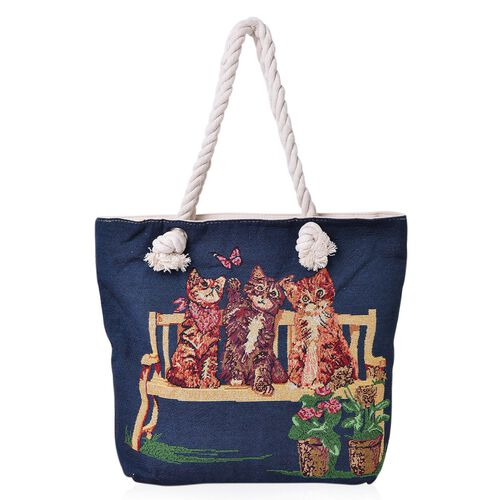 Navy, Red and Multi Colour Cat Pattern Jacquard Tote Bag (Size 43X37X34X11 Cm)
