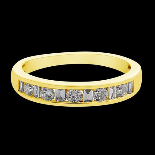 ILIANA 18K Yellow Gold IGI Certified Diamond (Bgt and Rnd) (SI/G-H) Band Ring 0.500 Ct.