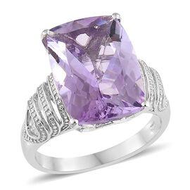 Rose De France Amethyst (Cush) Ring in Platinum Overlay Sterling Silver 12.750 Ct.